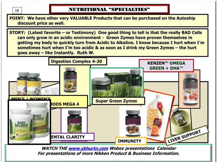"""NUTRITIONAL """"SPECIALTIES"""""""