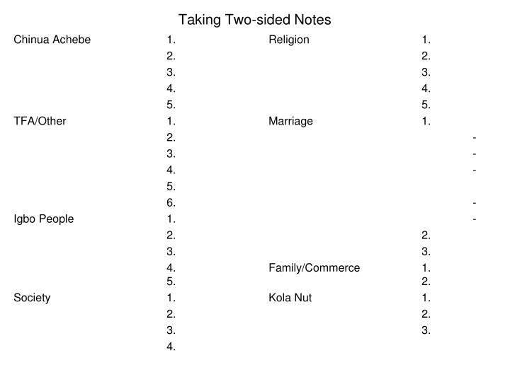 Taking two sided notes