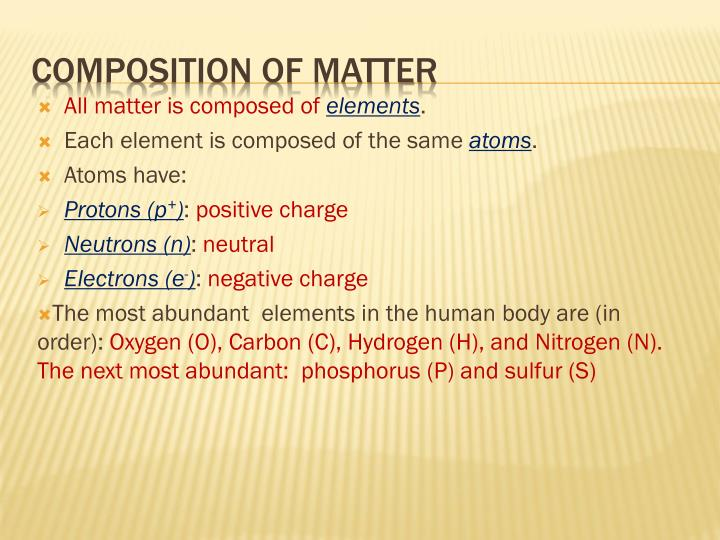 All matter is composed of