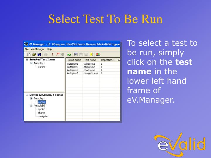 Select Test To Be Run