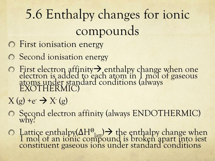 5.6 Enthalpy changes for ionic compounds