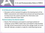 k 12 and postsecondary roles in parcc