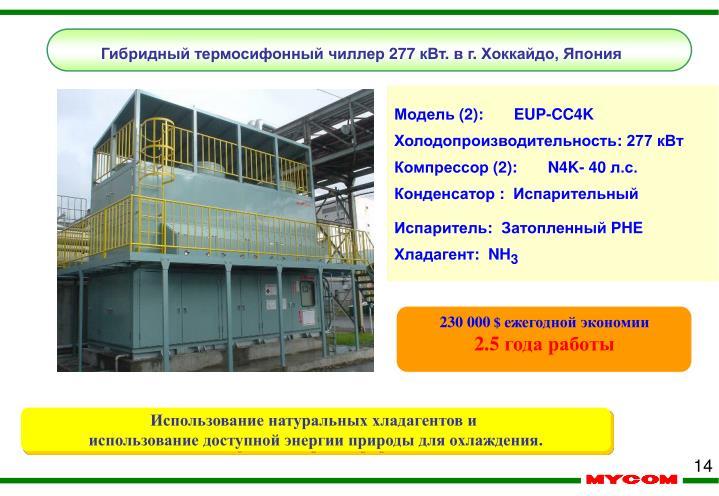 Гибридный термосифонный чиллер 277 кВт. в г. Хоккайдо, Япония