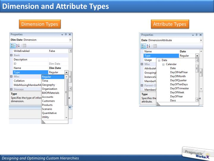 Dimension and Attribute Types