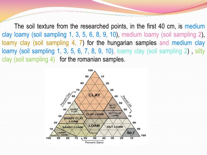 The soil texture from the researched points, in the first 40 cm, is