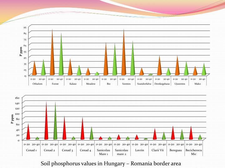 Soil phosphorus values in Hungary – Romania border area