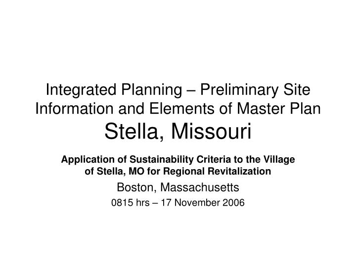 integrated planning preliminary site information and elements of master plan stella missouri