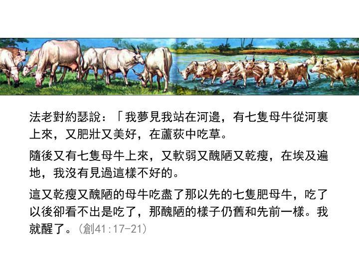 法老對約瑟說:「我夢見我站在河邊,有七隻母牛從河裏上來,又肥壯又美好,在蘆荻中吃草。