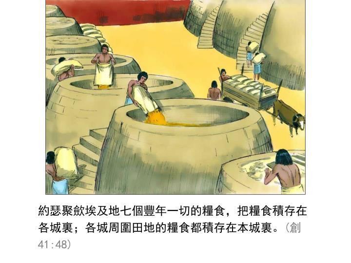約瑟聚歛埃及地七個豐年一切的糧食,把糧食積存在各城裏;各城周圍田地的糧食都積存在本城裏。