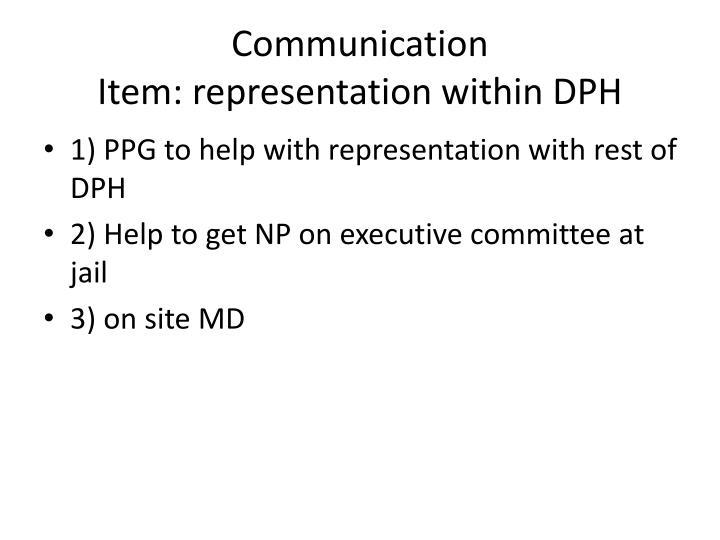 Communication item representation within dph