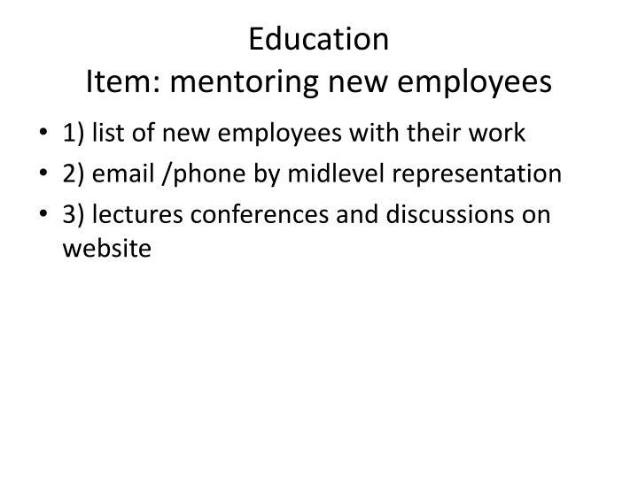 Education item mentoring new employees