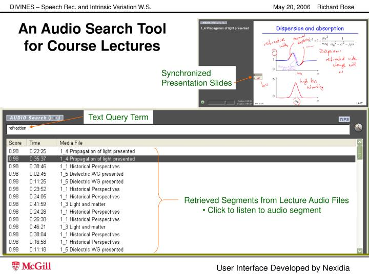 An audio search tool for course lectures
