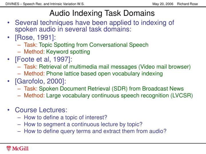 Audio Indexing Task Domains