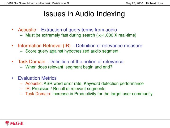 Issues in Audio Indexing