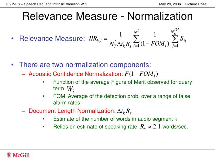 Relevance Measure - Normalization