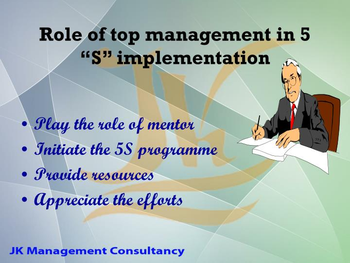 """Role of top management in 5 """"S"""" implementation"""