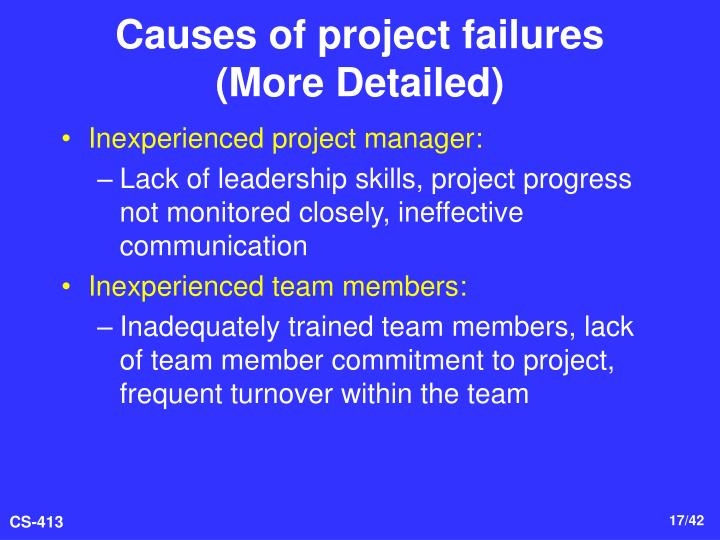 causes of project failure Preventing project failure welcome 10 major causes of project failure getpmtrainingcom 1 centreline solutions inc project management institute global registered education provider #2029 why projects fail v20050218 copyright, 2004 © centreline solutions inc preventing project.