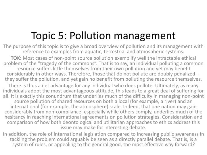 topic 5 pollution management n.