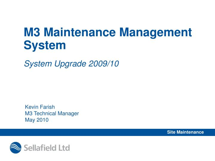 M3 maintenance management system