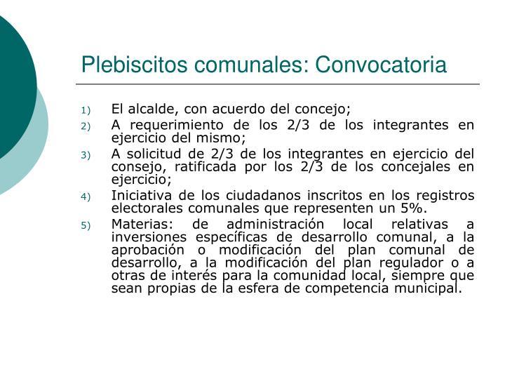Plebiscitos comunales: Convocatoria