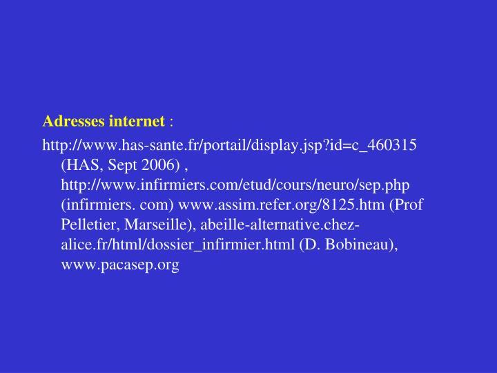 Adresses internet