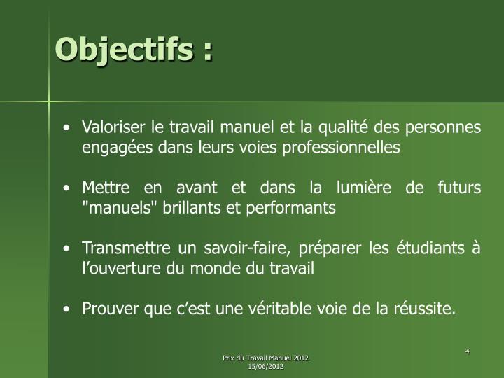 Objectifs :