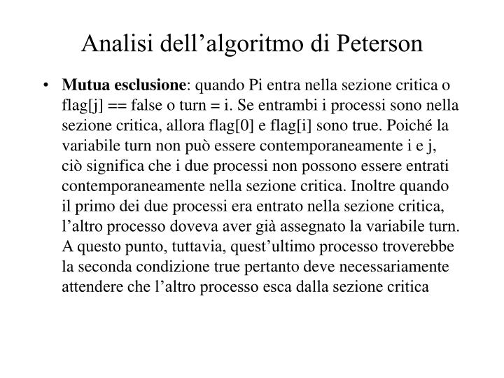 Analisi dell'algoritmo di Peterson