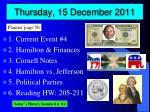 thursday 15 december 2011