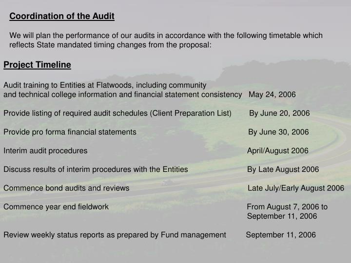 Coordination of the Audit