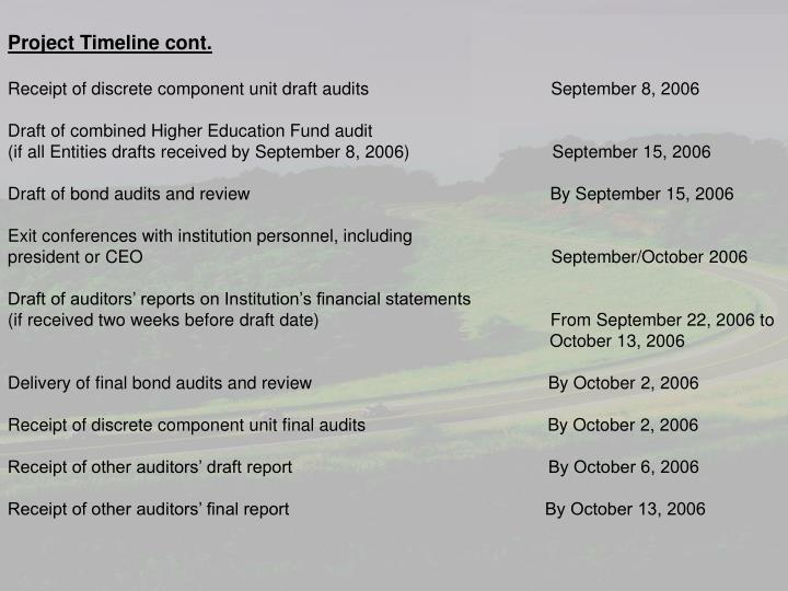 Project Timeline cont.
