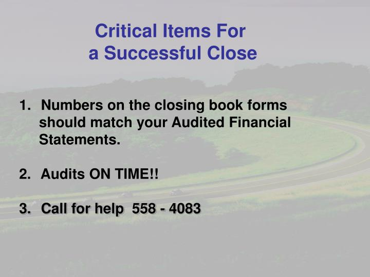 Critical Items For