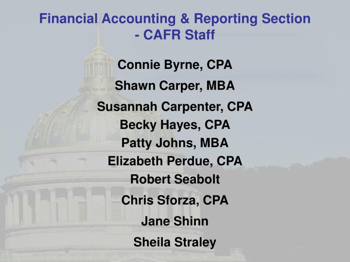 Financial Accounting & Reporting Section