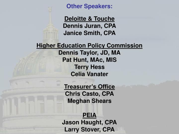 Other Speakers: