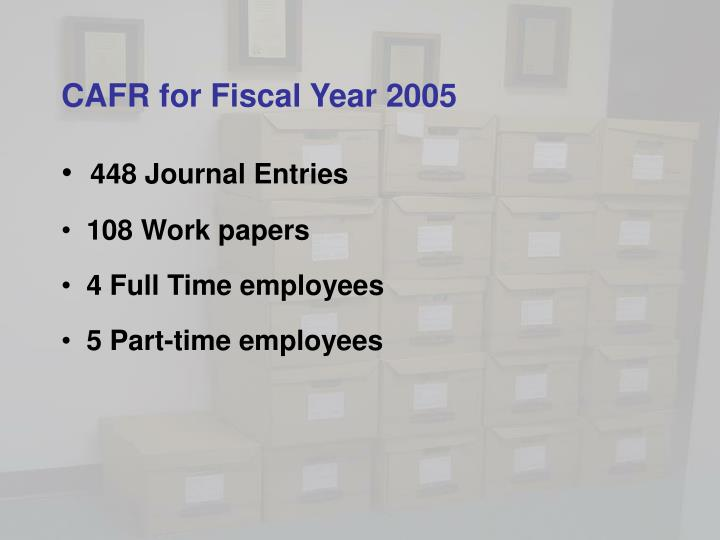 CAFR for Fiscal Year 2005