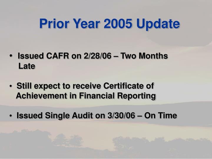 Prior Year 2005 Update