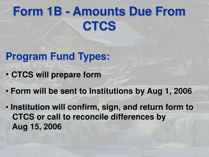 Form 1B - Amounts Due From CTCS