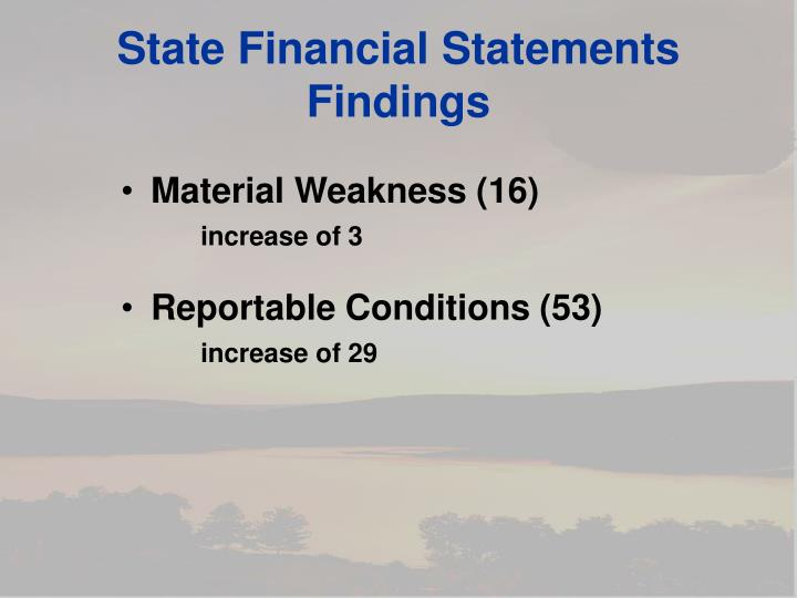 State Financial Statements Findings