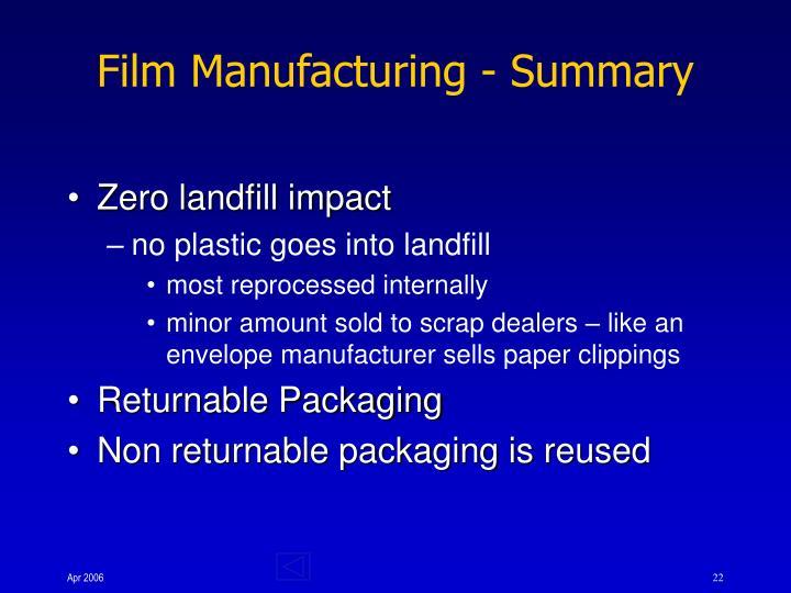 Film Manufacturing - Summary