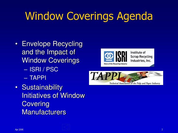 Window coverings agenda