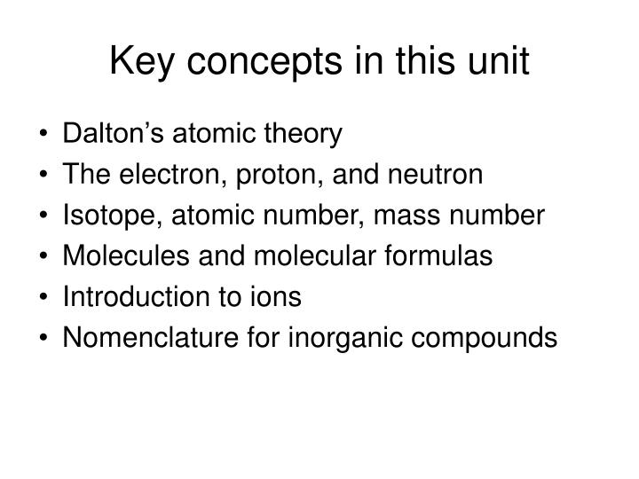 Key concepts in this unit
