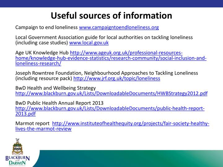 Useful sources of information