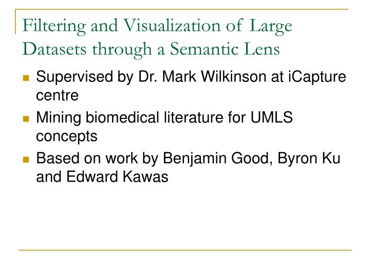 Filtering and Visualization of Large Datasets through a Semantic Lens