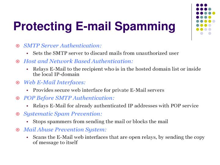 Protecting E-mail Spamming