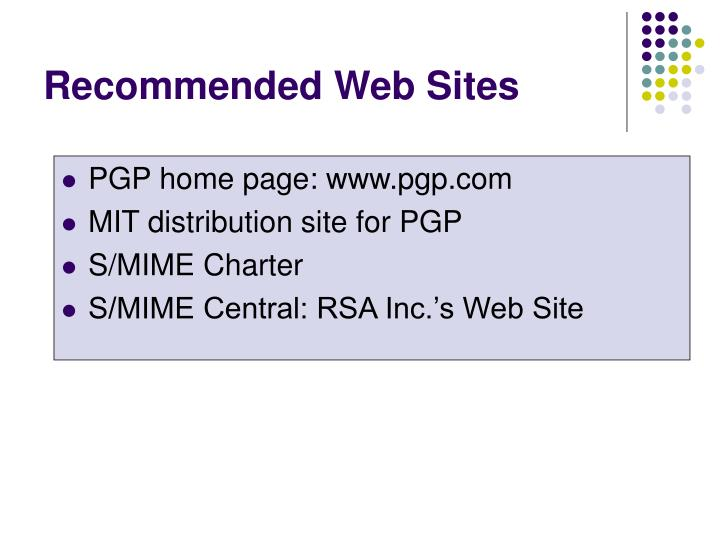 Recommended Web Sites