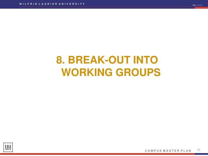 8. BREAK-OUT INTO WORKING GROUPS