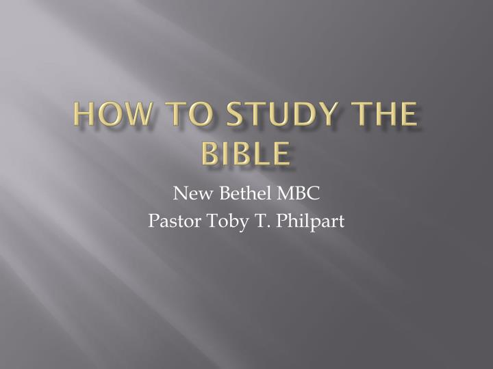 how to study the bible n.