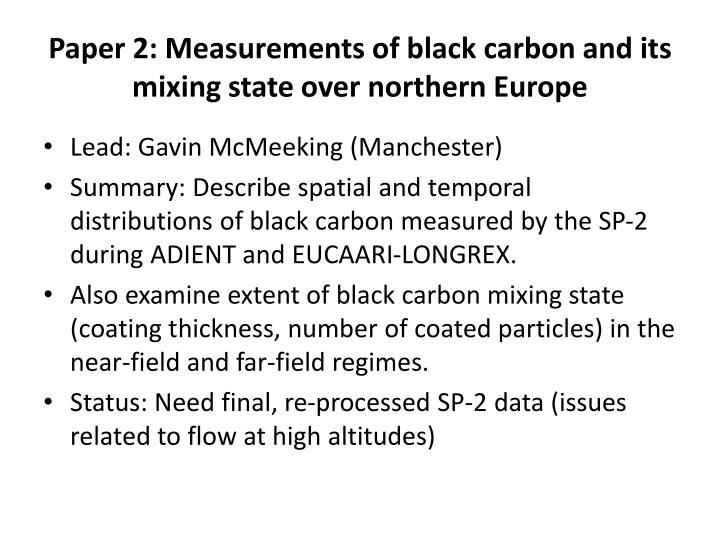 Paper 2: Measurements of black carbon and its mixing state over northern Europe