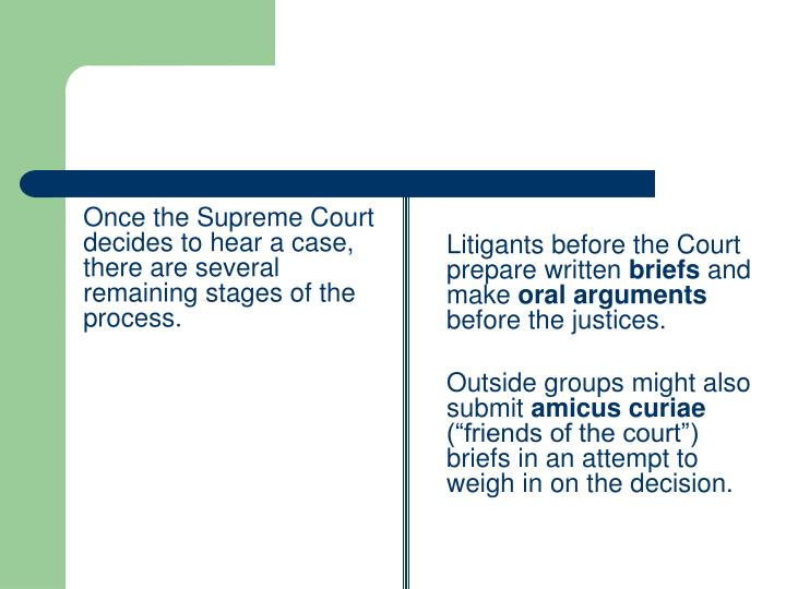 Once the Supreme Court decides to hear a case, there are several remaining stages of the process.