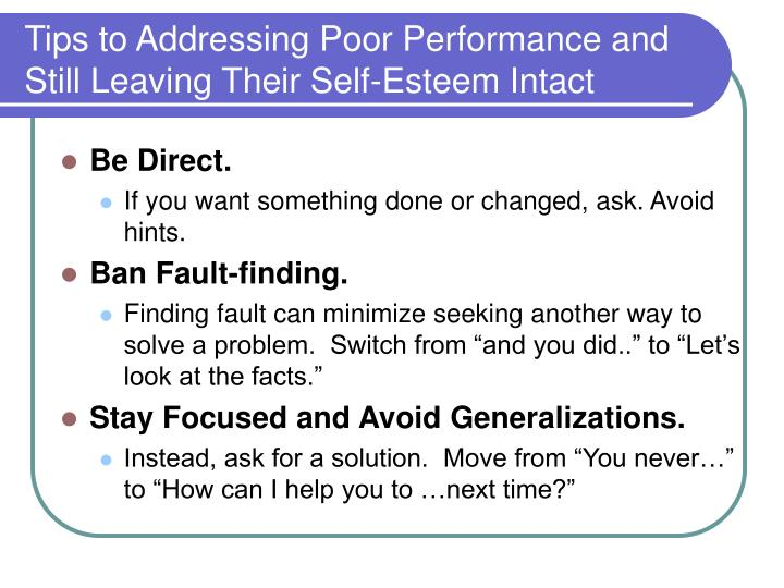 how to address poor performance Introduction what can i do to prevent poor performance the focus of this booklet is on helping you address and resolve poor performance the best way.