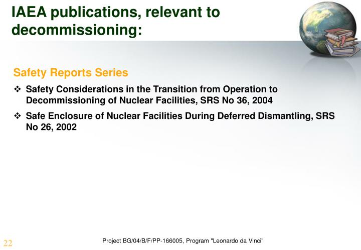 IAEA publications, relevant to decommissioning: